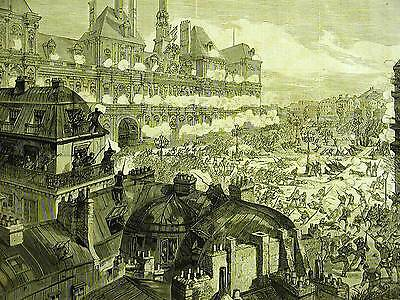 France ATTACK on the HOTEL DE VILLE 1871 Antique Engraving Art Print Matted