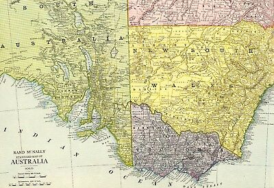 RARE Size Antique AUSTRALIA Map 1920 Vintage Map Gallery Wall Art Map 1108