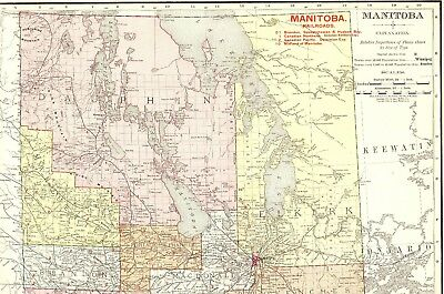 Antique MANITOBA Canada Map w RAILROADS Vintage 1907 Map Gallery Wall Art #1111
