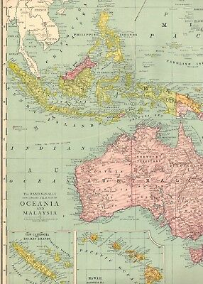 1920 Antique OCEANIA Map Malaysia Map Polynesia Map RARE Poster Print SIZE #1113