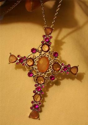 Lovely Large Triangle Armed Peach Pink & Rose Rhinestone Cross Pendant Necklace