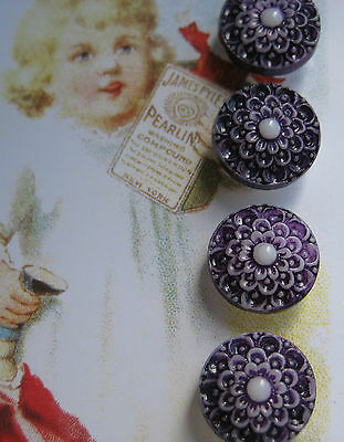 Set of 4 Vintage  Purple Lace Painted Glass Buttons ~Pre WWII~new/old stock