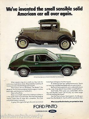 1972 FORD Pinto 2-dr Sedan w/ 1930 MODEL A Deluxe COUPE w/wire wheels AD