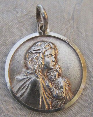 Vintage Religious Catholic Holy Medal - STERLING - Blessed Mother & Child  ITALY