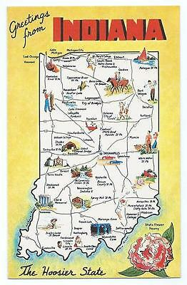Greetings From INDIANA State Map The Hoosier State Unposted Post Card #1121