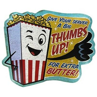 THUMBS UP EXTRA  BUTTER  EMBOSSED METAL SIGN  HOME THEATER  CINEMA MOVIE POPCORN