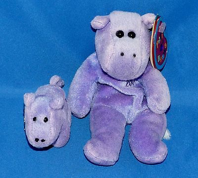 "Avon HILDA & Key Ring 8"" Hippo Purple February Birthday Plush 1999 Full O'Beans"