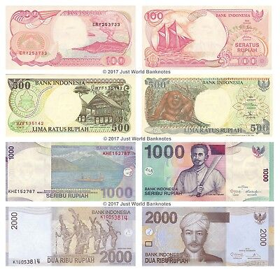 Indonesia 100 + 500 + 1000 + 2000 Rupiah Set of 4 Banknotes 4 PCS UNC