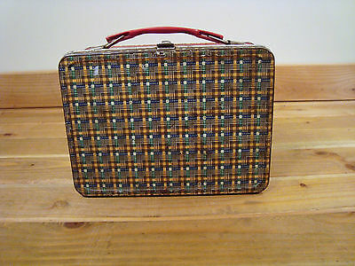 Vintage American Thermos Bottle Company Plaid Metal Tin Lunchbox  Red Green Gold