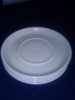"""Midwinter 6 1/8"""" Saucers Set of 4  Off White Speckled with Brown Made in England"""