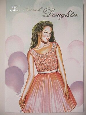 Wonderful Colourful Party Dress To A Special Daughter Birthday Greeting Card