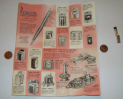 Vintage 1950's Ronson Mastercase Lighter / Cigarette Case INSTRUCTIONS / AD ONLY