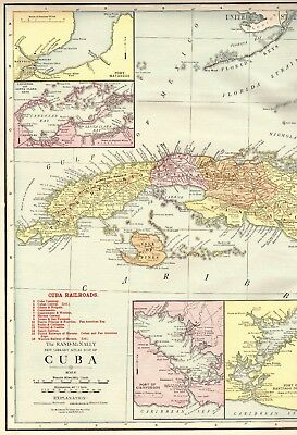 1916 RARE Size Antique CUBA MAP with RAILROADS and HAVANA Harbor Map 1130