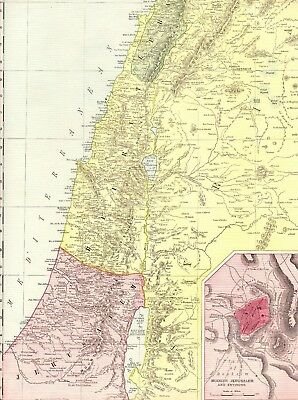 1912 Antique PALESTINE Map Vintage Map of Palestine RARE Poster SIZE Map 1135