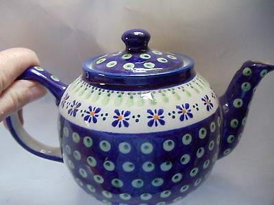 NEW POLISH POTTERY TEAPOT / COFFEE POT-  Holds 5 Cups-Pattern 296A