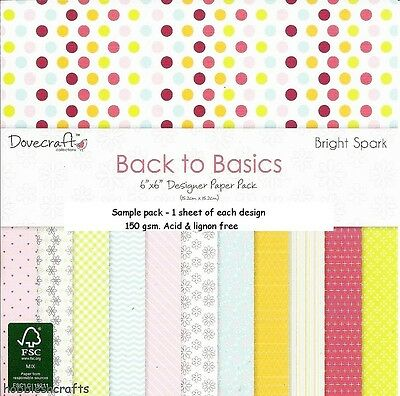 Dovecraft Back To Basics Papers - 6 X 6 Sample Pack  - 12 Sheets - Bright Spark