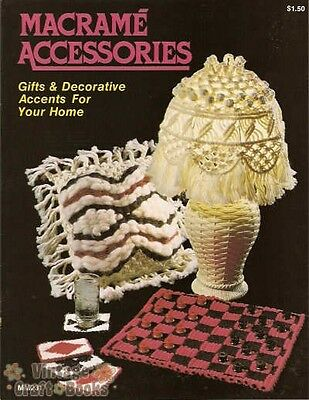 Macrame Accessories Vintage Instruction Book 1977 NEW Lamp Purse Tote Tissue Box