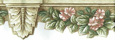 DIE-CUT FLOWERS AND LEAVES ON WALL ARCHITECTURE Wallpaper bordeR Wall decor