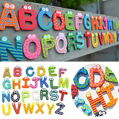 Newest 26pcs Kids Early Learning wooden refrigerator alphabet magnet A-Z Letters