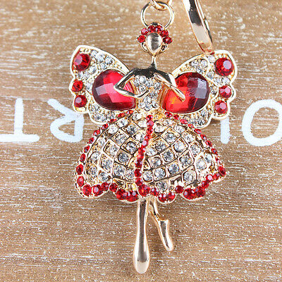 Angel Girl Butterfly Rhinestone Crystal Charm Pendant Purse Bag Car Key Chain