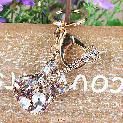 Lovely Guitar Rhinestone Crystal Charm Pendant Purse Bag Key Chain Christmas Gif