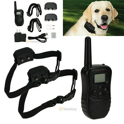 Rechargeable Waterproof LCD 100LV Level Shock Vibrate Remote 2 Dog Training Coll