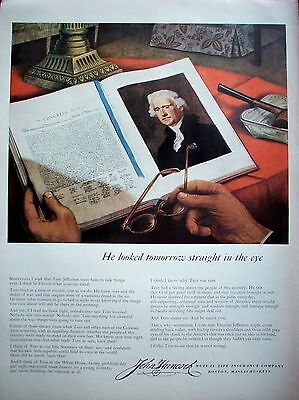 1951 John Hancock Thomas Jefferson Looked Tomorrow Straight In The Eye ad