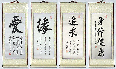 4 Asian Japanese Calligraphy Painting Scroll *Love...* #w39