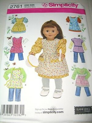 """Simplicity 2761 18"""" Doll Clothes Aprons Pattern Elaine Heigl Retro American Play"""
