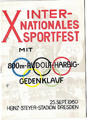 Programmheft Internationales Sportfest Dresden 1960 Original