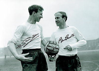 Bobby & Jack CHARLTON Signed England Football 16x12 Autograph Photo AFTAL COA