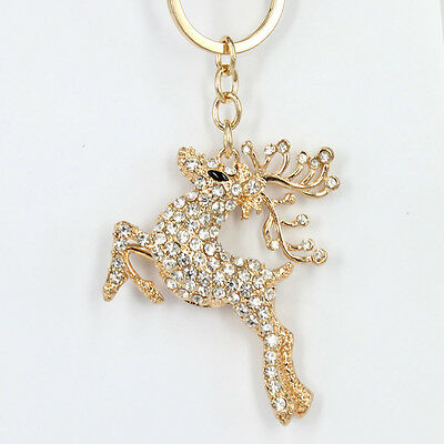 Spotted Deer Cervus Nippon Cute Pendant Crystal Purse Bag Keyring Christmas Gift