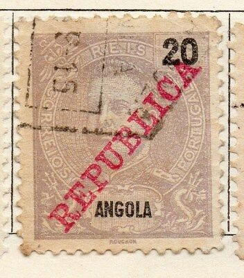 Angola 1911 Early Issue Fine Used 20r. Optd Republic 130128