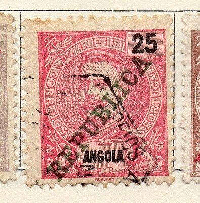 Angola 1911 Early Issue Fine Used 25r. Optd Republic 130129