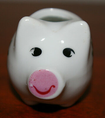 HANDPAINTED PIG TOOTHPICK HOLDER  WITH PINK FLOWERS - SWEET!