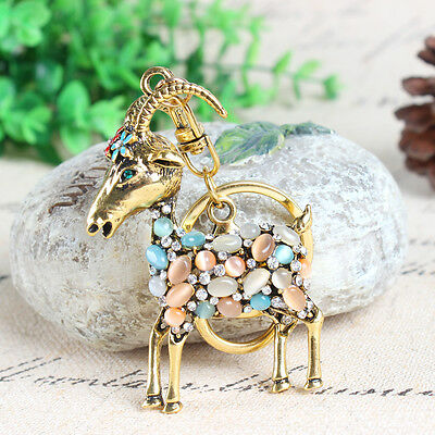 Vintage Goat Sheep Flower Charm Crystal Purse Bag Key Ring Keychain Party Gift