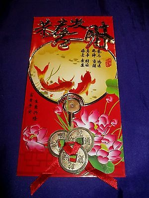 FSH062 Feng Shui Ang Pow/Hung Boa/Red Packet + 3 Gold-Plated Coins + Red Ribbon