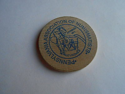 Cool Vintage Pennsylvania Assn Numismatists American Numismatic Wooden Nickel