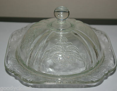 2 PC VINTAGE CLEAR GLASS MADRID BUTTER CHEESE DISH WITH DOME
