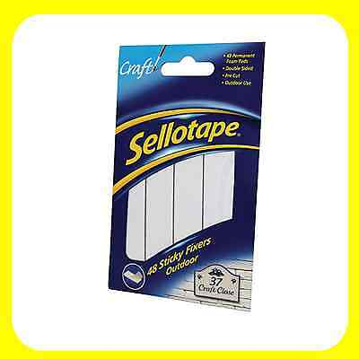 Sellotape Sticky Fixers Outdoor Double-Sided Weather-Resistant 20x20mm 48 Pads