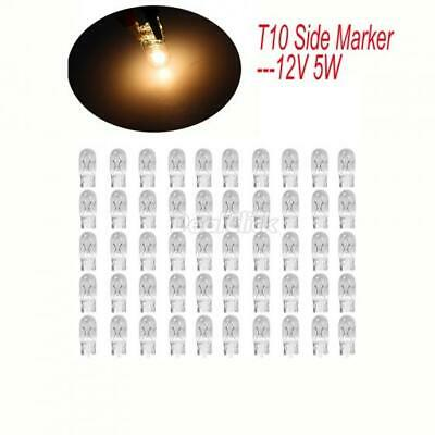 50x Clear Halogen Bulb T10 Side Marker lamp Light 194 W5W 12V 5W Yellow