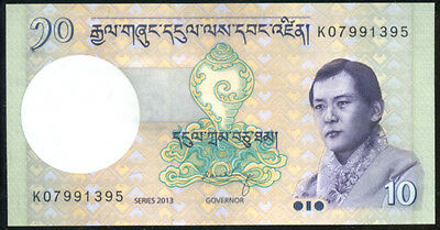 BHUTAN  - 10  NGULTRUM  2013    P 29 NEW  Uncirculated Banknotes