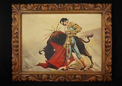 1930's Oil Painting of a Bullfighter Torero/Matador in Hand-Carved Frame, Mexico