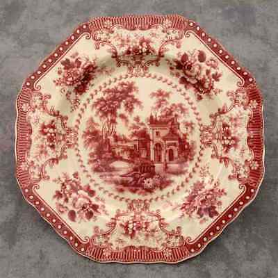 RED & CREAM TRANSFERWARE VICTORIAN COUNTRY TOILE PLATE ~Octagonal Shape~
