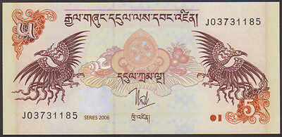 BHUTAN - 5  NGULTRUM  2006   -  P 28  LOT  2 PCS  Uncirculated Banknotes