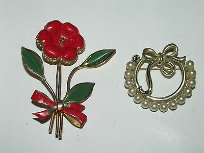 W20 Vintage Lot of 2 Golden Brooches Red Flower & Round Pearl Stone