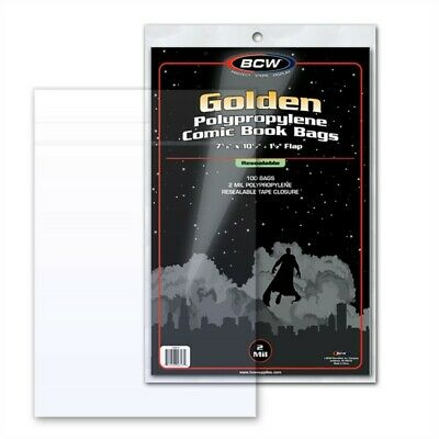 200 BCW Golden Age Comic Book RESEALABLE 2-mil Archival Poly Bags +Backer Boards