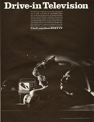 """1967 vintage AD, 5"""" Sony 'Anyplace' Portable TV, Drive-in Television!  -030714"""