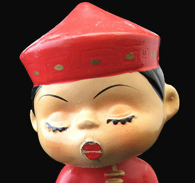 VINTAGE JAPANESE BOBBLEHEAD NODDER KISS ME DOLL WITH MAGNETIC LIPS crack