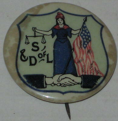 "1900's Daughters of Liberty Pin 1.25"" St Louis Button Company"